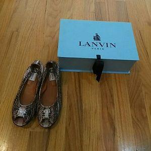 Lanvin Shoes - Lanvin snakeskin opentoes flats