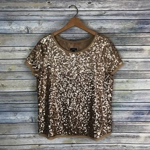 Talbots Gold Sequin Silk Blouse
