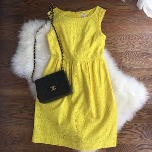 Yellow J. Crew fit and flare dress