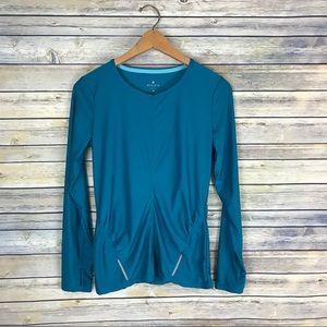 Athleta Teal Long Sleeve Ruched Workout Top