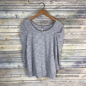 Free People Grey 3/4 Ruched Sleeve Sweater