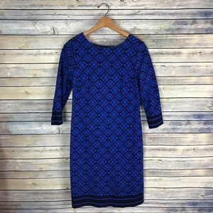Talbots Blue Geometric 3/4 Sleeve Sheath Dress
