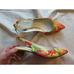 Ann Klein Shoes - Ann Klein Flex Floral Bow Sling Back Kitten Heels