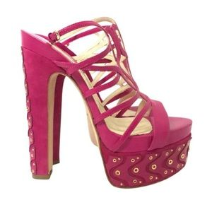 Brian Atwood Shoes - Brian Atwood Fuchsia Leather & Suede Platform Heel