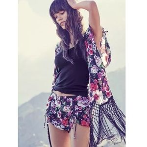 NEW Betsey Johnson Black Fringe Kimono Duster M/L