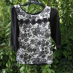 Influence Tops - Adorable White and Black Blouse