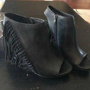 Reba Shoes - Reba open toe bootie w/fringe