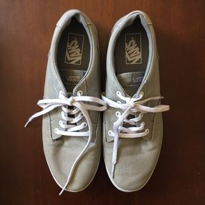 Vans Grey Canvas Lace Up Slip On Sneakers