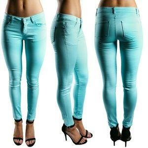 Pants - Hip Hugger Skinnies in Aqua