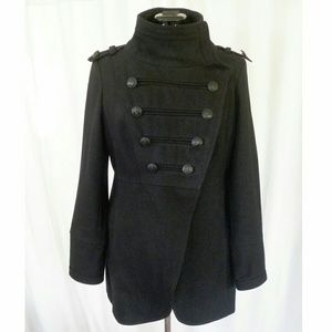 CoffeeShop Jackets & Blazers - Coffee Shop wool military style coat, L, black