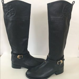 NEW Tory Burch Marlene Tall Black Leather Boots 5