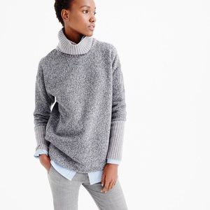 J. Crew Relaxed Fleece Turtleneck, Cashmere Trim