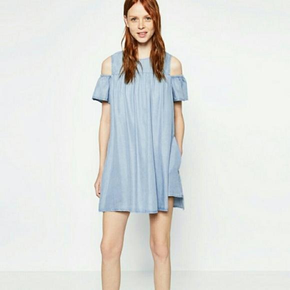 9a31b18ce84 ZARA Denim Cold Shoulder Jumpsuit Romper Dress. M 594bfdec680278c69200c150
