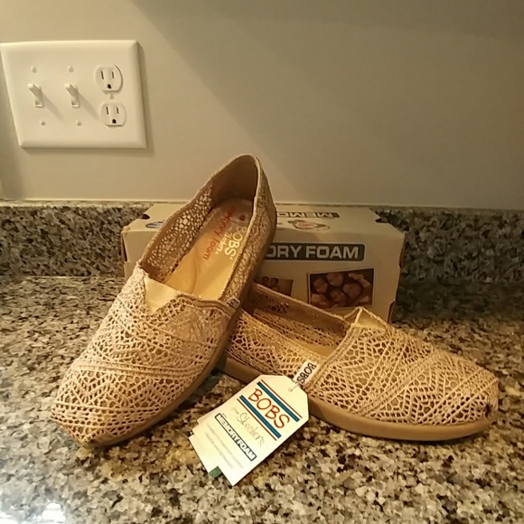 Skechers Bobs Shoes Taupe Gold 65