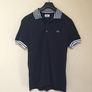 Lacoste Other - LACOSTE Navy Blue Striped Accent Short Sleeve Polo
