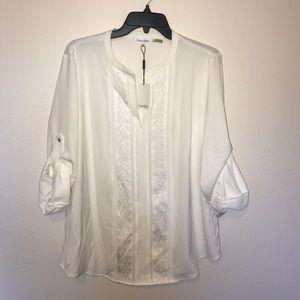 Calvin Klein Collection Tops - NWT Calvin Klein roll tab sleeve blouse