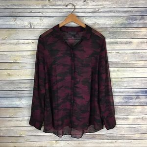 Lane Bryant Maroon Camo Split Back Blouse