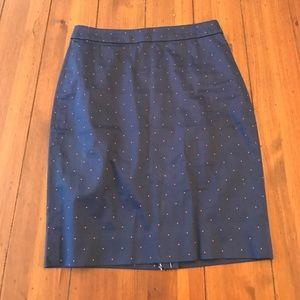 J.Crew Printed Pencil Skirt in Sateen Dot