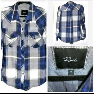 rails Tops - Rails Blue White Plaid Long Sleeve Shirt