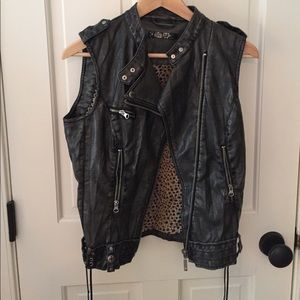 Guess Los Angeles Sleeveless Leather Jacket