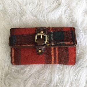 Jeun Bang Burnt Red Plaid Clutch Wallet