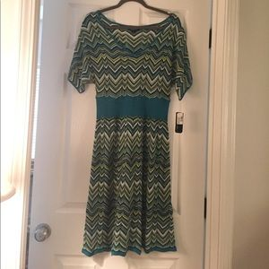 AGB dress. Teal blue open weave chevron NWT large