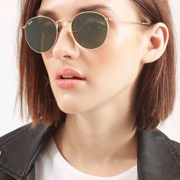 Ray Ban Round Metal Sunglasses In Gold