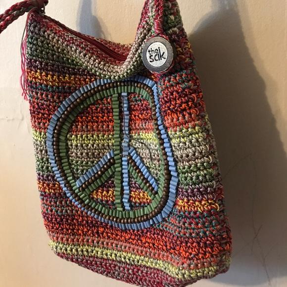 Sak Bags Peace Sign Crocheted Multicolor Stripe Purse Poshmark