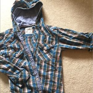 Aerology Other - Boys lightweight button up plaid hoodie
