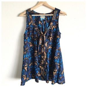 Plenty by Tracy Reese Blue Silk Floral Bow Tank