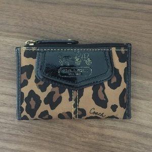 Coach cheetah print card/ mini wallet