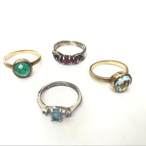 Jewelry - Various Ruby Gold Blue Green Stackable Rings