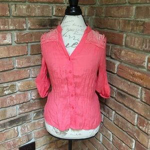 Tops - Sheer top button up blouse