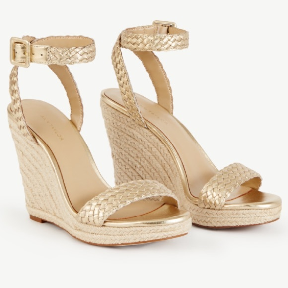 a17bccf26f68 Ann Taylor Champagne Gold Metallic Braided Wedges