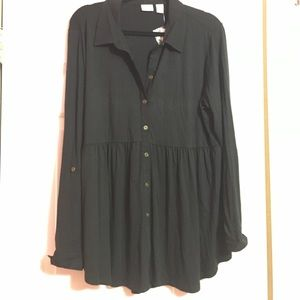 Westbound Tops - XL Black Long Sleeve Cotton Shirt Tunic NWT