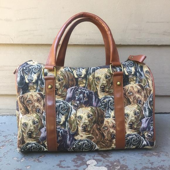 8e13c48972 Bradford Exchange Handbags - Unique dachshund DOG print leather tapestry bag