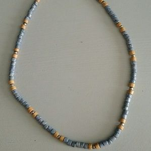 Jewelry - Blue and Tan Ceramic Bead Necklace