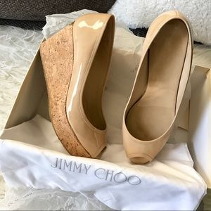 Jimmy Choo Nude Patent Wedge