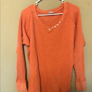 Allen Allen Tops - Orange long sleeve vneck