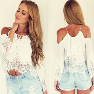 Tops - Super cute white sheer summer top!