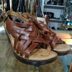 Born Brown Leather Wedge Sandals