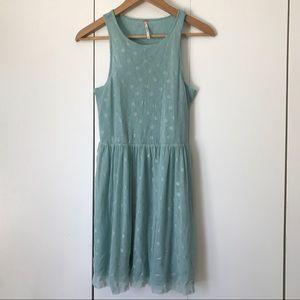 Free People Reversible Dot Dress Blue Silver Sz XS