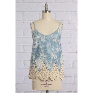 Tops - Chambray Crochet Top