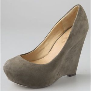 L.A.M.B. Shoes - L.A.M.B. Plum Suede Wedge Pumps