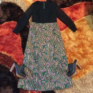 Vintage 60's Boho Paisley Sheer Sleeve Maxi Dress