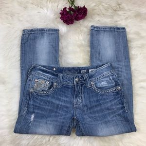 Miss Me Denim - Miss Me Blue Paisley Rhinestone Cuffed Capri Jeans