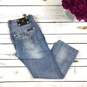 Miss Me Blue Paisley Rhinestone Cuffed Capri Jeans