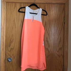 Everly Dresses & Skirts - Neon coral and white keyhole shift dress