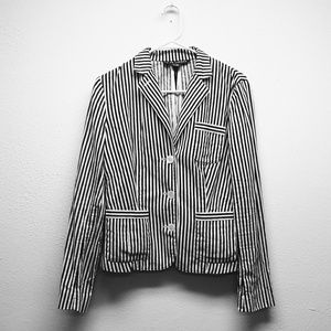 Ralph Lauren Black and White Striped Fitted Jacket