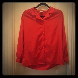 GW ORIGINALS Red Silk Button Up Blouse